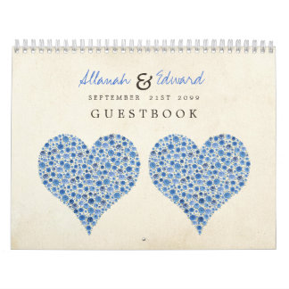 Something Blue Heart Roses Wedding Guest Sign Book Wall Calendar
