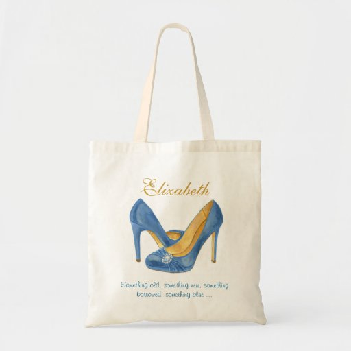 Something Blue Heels Personalized Bridesmaid Tote Canvas Bags