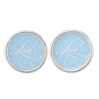 Something Blue Love Calligraphy Cufflinks