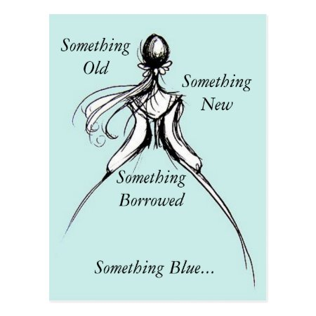 Something old new and Blue bridal shower Post card