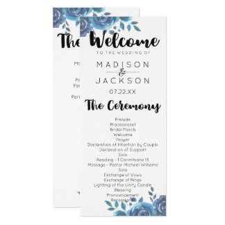 Something Blue Watercolor Floral Wedding Program