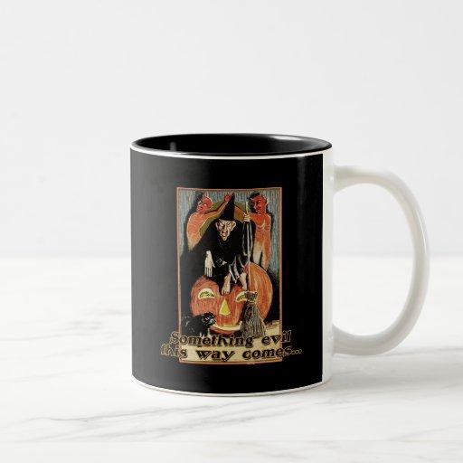 Something Evil This Way Comes Halloween Tees Two-Tone Coffee Mug