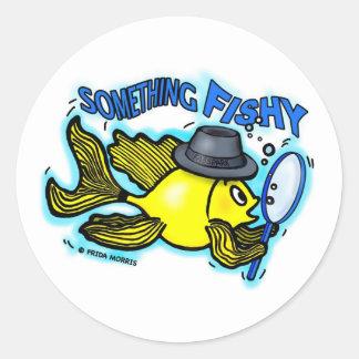 Something Fishy funny detective fish cartoon Card Classic Round Sticker