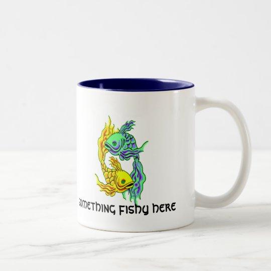 something fishy here Two-Tone coffee mug