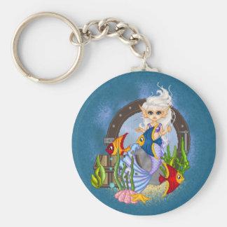 Something Fishy Mermaid Pixel Art Basic Round Button Keychain
