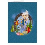 Something Fishy Mermaid Pixel Art Greeting Card