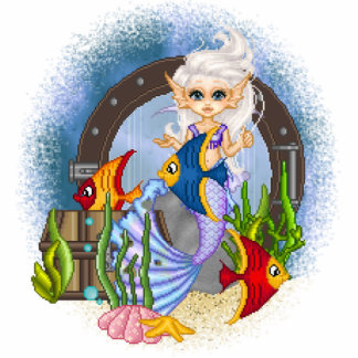 Something Fishy Mermaid Pixel Art Photo Cut Outs