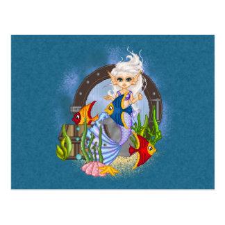 Something Fishy Mermaid Pixel Art Postcards