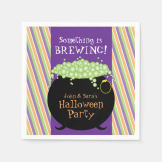 Something is Brewing, Personalized Halloween Party Standard Cocktail Napkin