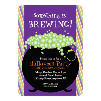 Something is Brewing, Witch Pot, Halloween Party Card