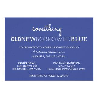 Something Old New Borrowed Blue Bridal Shower I Custom Announcements