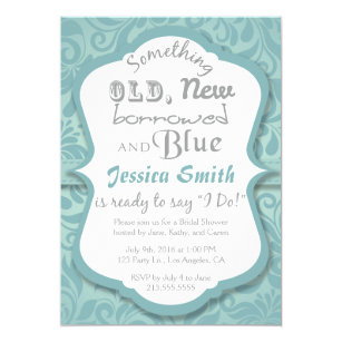 something old new borrowed blue bridal shower invitation
