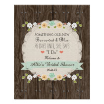 Something Old New Mint Boho Rustic Bridal Shower Poster