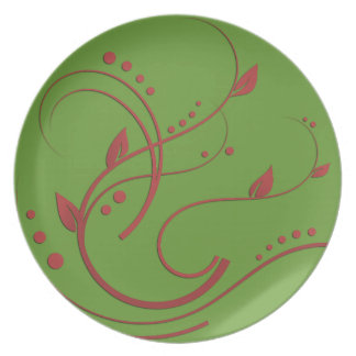 Something Red with Green Background Option Melamine Plate