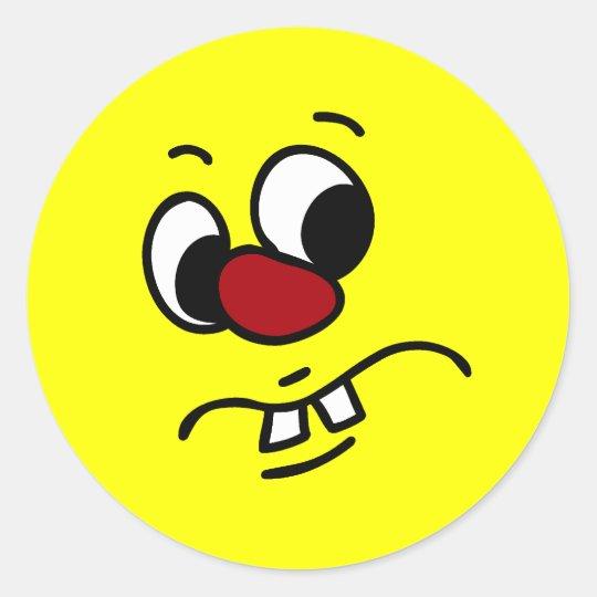 Something Stinky Smiley Face Grumpy Classic Round Sticker