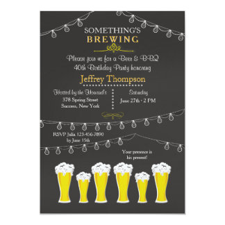 "Something's Brewing Birthday Party Invitation 5"" X 7"" Invitation Card"