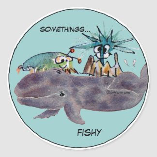 Somethings Fishy Cartoon Whale Friends Stickers