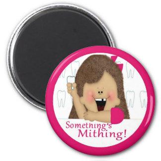 Something's Mithing! Girl 2 Inch Round Magnet