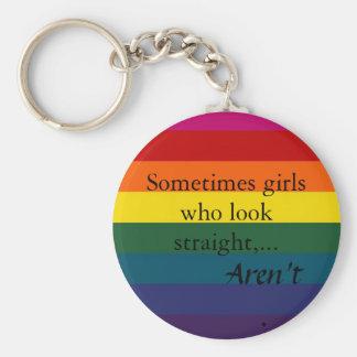 Sometimes girls who look straight,... basic round button keychain