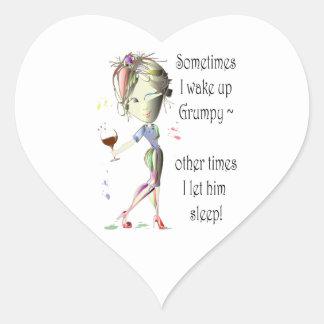 Sometimes I wake up grumpy, funny saying gifts Heart Sticker