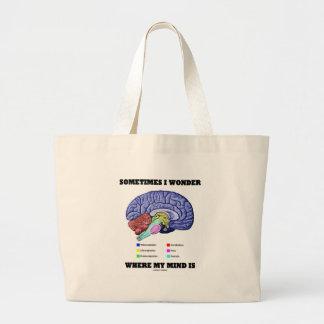 Sometimes I Wonder Where My Mind Is (Brain Humor) Large Tote Bag