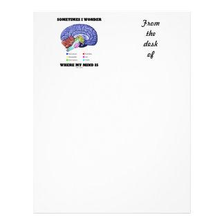 Sometimes I Wonder Where My Mind Is (Brain Humor) Letterhead