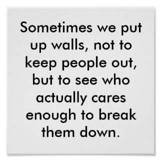 Sometimes we put up walls, not to keep people o... poster