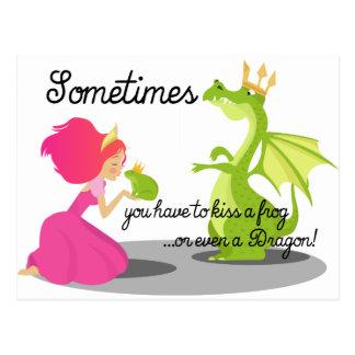 Sometimes You Need To Kiss a Frog or Dragon Postcard