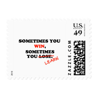Sometimes You Win...Typography Motivational Phrase Postage