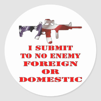 Someto a ningún extranjero enemigo o nacional pegatina redonda