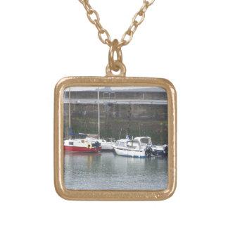 Somewhere in Scotland: Boats! Square Pendant Necklace