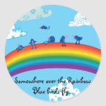 Somewhere over the rainbow round stickers
