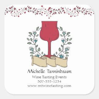 Sommelier de la degustación de vinos de la copa de pegatina cuadrada