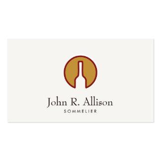Sommelier resumido del logotipo de la botella de tarjetas de visita