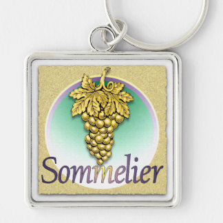 Sommelier Symbol Silver-Colored Square Keychain