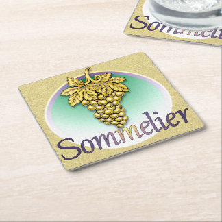 Sommelier Symbol Square Paper Coaster