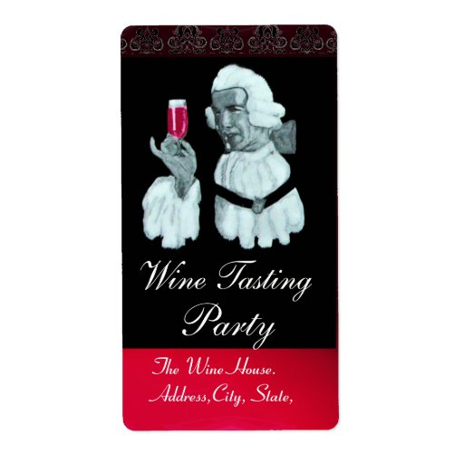 SOMMELIER WINE TASTING  PARTY,Damask Custom Shipping Label