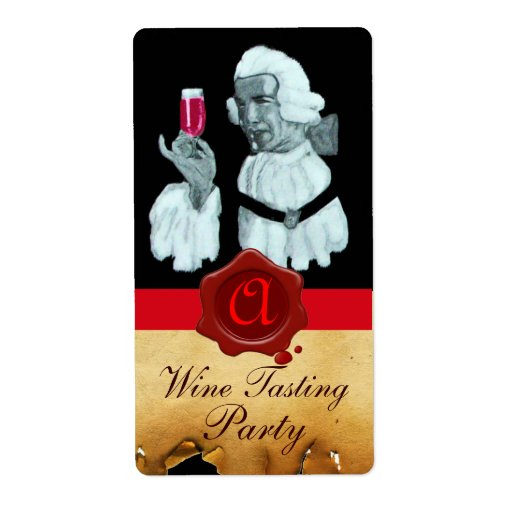 SOMMELIER WINE TASTING PARTY,RED WAX SEAL MONOGRAM SHIPPING LABEL