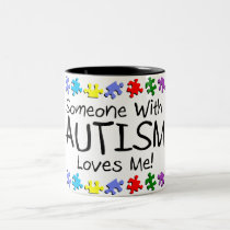 Somone With Autism Loves Me (PP) Two-Tone Coffee Mug
