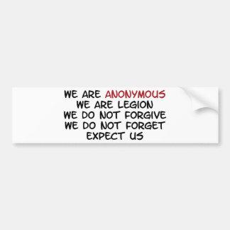 Somos anónimos etiqueta de parachoque