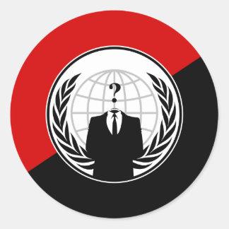 Somos bandera anónima del anarquista pegatina redonda