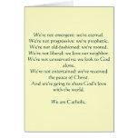 Somos católicos: notecard tarjetón