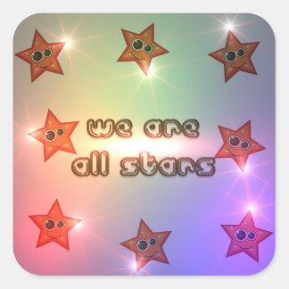 Somos todas las estrellas calcomanías cuadradas