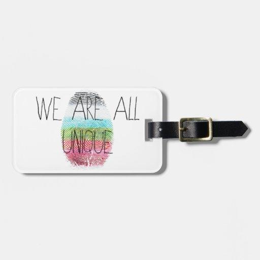 somos todos únicos etiquetas para maletas