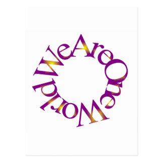 Somos un mundo (púrpura) tarjetas postales