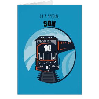 Son 10th Birthday Train, Little Boy, Blue Card