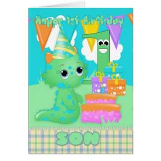 Son 1st Birthday Cute Little Monster With Gifts Card