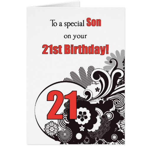 Son, 21st Birthday Religious Swirls Card
