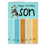 son 30th birthday card with cake and mouse