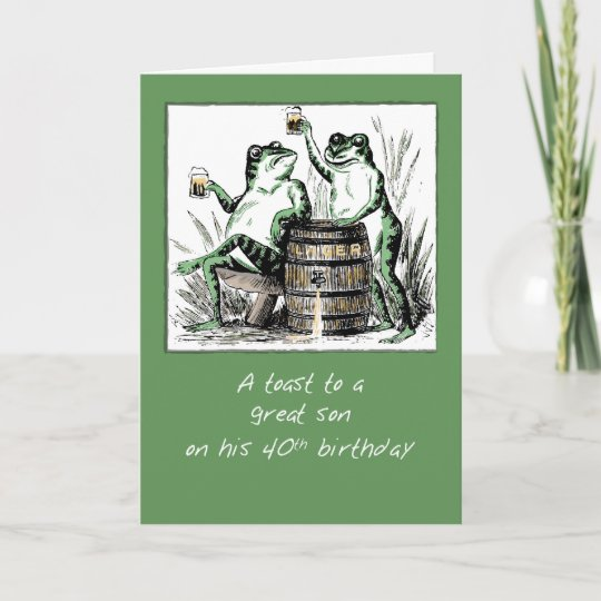 Son 40th Birthday Frogs Toasting With Beer Card